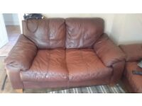 Free2 brown leather sofas,157cm lenth each