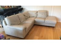Large L-Shaped Leather Sofa / Latte Colour / £130 / Pickup only