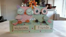 Wooden owl welcome plaques