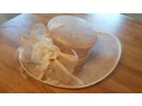 Beige and cream wedding/mother of the bride/races hat