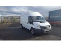 2013-63 plate ford transit 125-350 high roof lwb van fully ply lined low miles plus vat