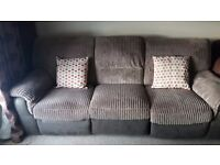 Dfs double recliner cord 3 seater sofa free delivery.