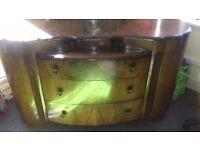 Vintage SCHRÄGER walnut dressing table with mirror 1940's