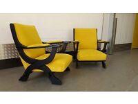 Pair of Vintage Retro Armchairs Design Modern Mid-Century Loft NEW UPHOLSTERY