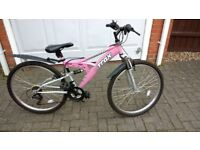 Teenager/ladies full size bicycle, full suspension, 26 inch wheels