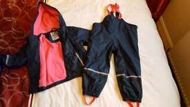 Girls age 2-4 waterproof jacket and trousers