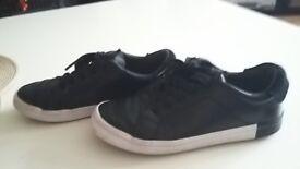 Children black lether shoes