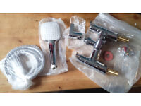 IDEAL Surface-Mounted Bath /Shower Mixer Tap with Large Square Shower Head Design. BRAND NEW- BOXED