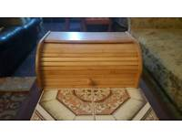 Wooden Bamboo Bread Bin Storage Box Kitchen Food Storage Loaf Container Roll Top
