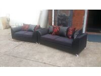 SUPER SALE 3+2 HAND MADE SOFA IN RED GOLD FABRIC WITH BODY IN SNAKE BLACK £325