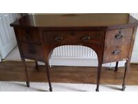 Mahogany sideboard - French polished with leadlined bottle drawer.