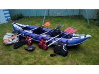 Zpro inflatable 2/3 man kayak, paddles, pump, 3 buoyancy aids