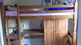High Bunk Bed with desk and wardrobe underneath. Ideal for small bedroom. Suit up to 13 yr old