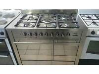 100cm duel fuel range cooker stainless steel