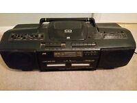 JVC Portable CD,Radio & Twin Cassette with Hyper Bass