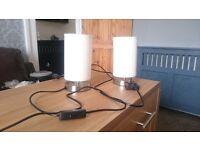 Pair Chrome Bedside Lamps