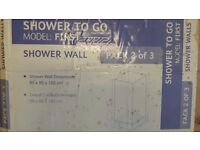 """Complete shower cubicle kit """"back to wall"""" with 3 glass panels"""