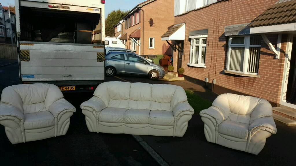 3, 1, 1 seater sofa in cream leather £150 delivered