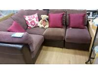 Brown leather corner sofa. Can be arranged either end or straight