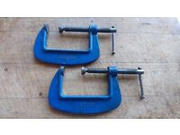 MATCHING PAIR QUALITY STEEL RECORD 3 INCH G CLAMPS VGC WORKSHOP GARAGE HOBBIES OLD TOOL CARPENTER
