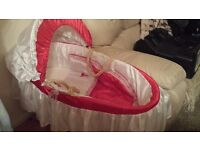 Red and white silk moses basket ideal for reborn dolls