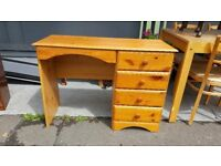 Pine Dressing Table / Desk With 4 Drawers