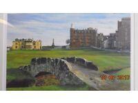 Signed framed golfing print SWILCAN BRIDGE by RICHARD CHORLEY. Open edition