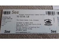 Glasgow International Comedy Festival Tickets x 2