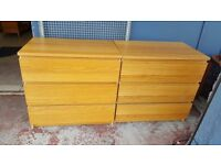 IKEA Malm Oak Veneer Chest of Drawers in Good Condition