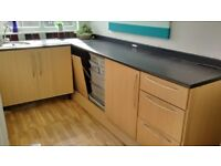 Kitchen units, worktops and sink in good condition