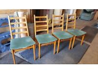 Set Of 4 Mid Century German Mobelstoff Dining Chairs