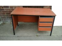OFFICE DESK USED AND IN REASONABLE CONDITION WITH METAL FRAME AND DARK WOOD EFFECT