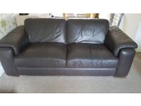 Brown Leather 3 piece suite - Good condition