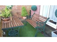 Cast Iron and wooden garden bench set