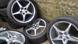 17 inch fantastic looking eye catching design 5 spoke racing Alloys with good tyres. 5 stud 5 × 108
