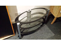 3 TIER BLACK/CLEAR GLASS TV STAND/COFFEE TABLE