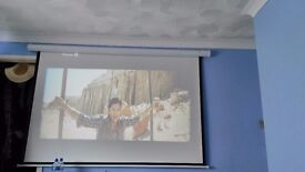 """LED projector + ceiling mount + electric 120"""" screen with remote"""