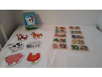 Orchard Toys Farmyard toddler Jigsaw and wooden number jigsaw