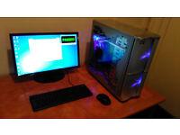 "Intel Quad core,Antec psu,4GIG ram,Hanns-g 22"",Saphire graphics,ASrock mobo,Thermaltake case"