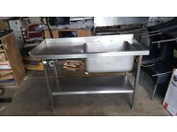 Commercial Stainless Steel Kitchen Catering Sink right Hand Bowl 1300mm x 600mm