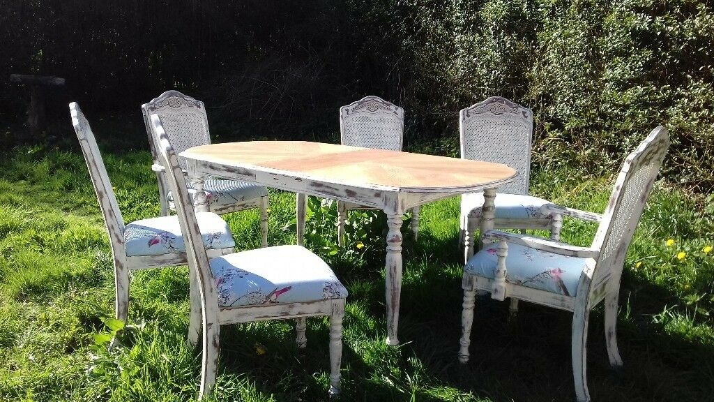 French Bergere Distressed Dining Table And Chairs Liverpool