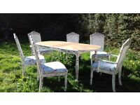 French bergere distressed dining table and chairs