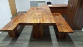 Bench Style Solid Wood Dining Table