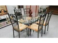 Ex stevensons large wrought iron dining table & 6 chairs in vgc can deliver 07808222995