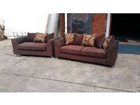 3 SEATER HAND MADE SOFA FOR £325 AND GET THE 2 SEATER FREE !!! IN BROWN GOLD SWIRL FABRIC
