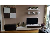 Design white and walnut tv unit stand cabinet with 3 draws £100 ono