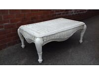 Large Painted Wicker Coffee Table