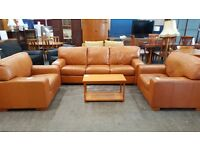 Large tan leather brown 3 seater and 2 chairs suite