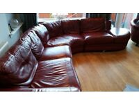 Leather corner suite from DFS with matching chair