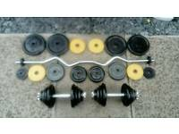 Ez bar and dumbbell set